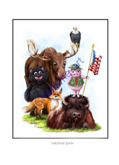 National Pork Wild Animals Print with Fox, Bison, Moose, Bear, Eagle, and Pig