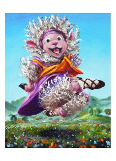 Bouncing Around Irish Dancing Sheep Art