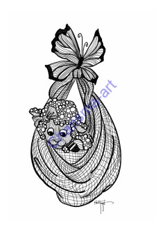 Coloring Page Little Blessing Adult Zen Version 5x7 Digital Download