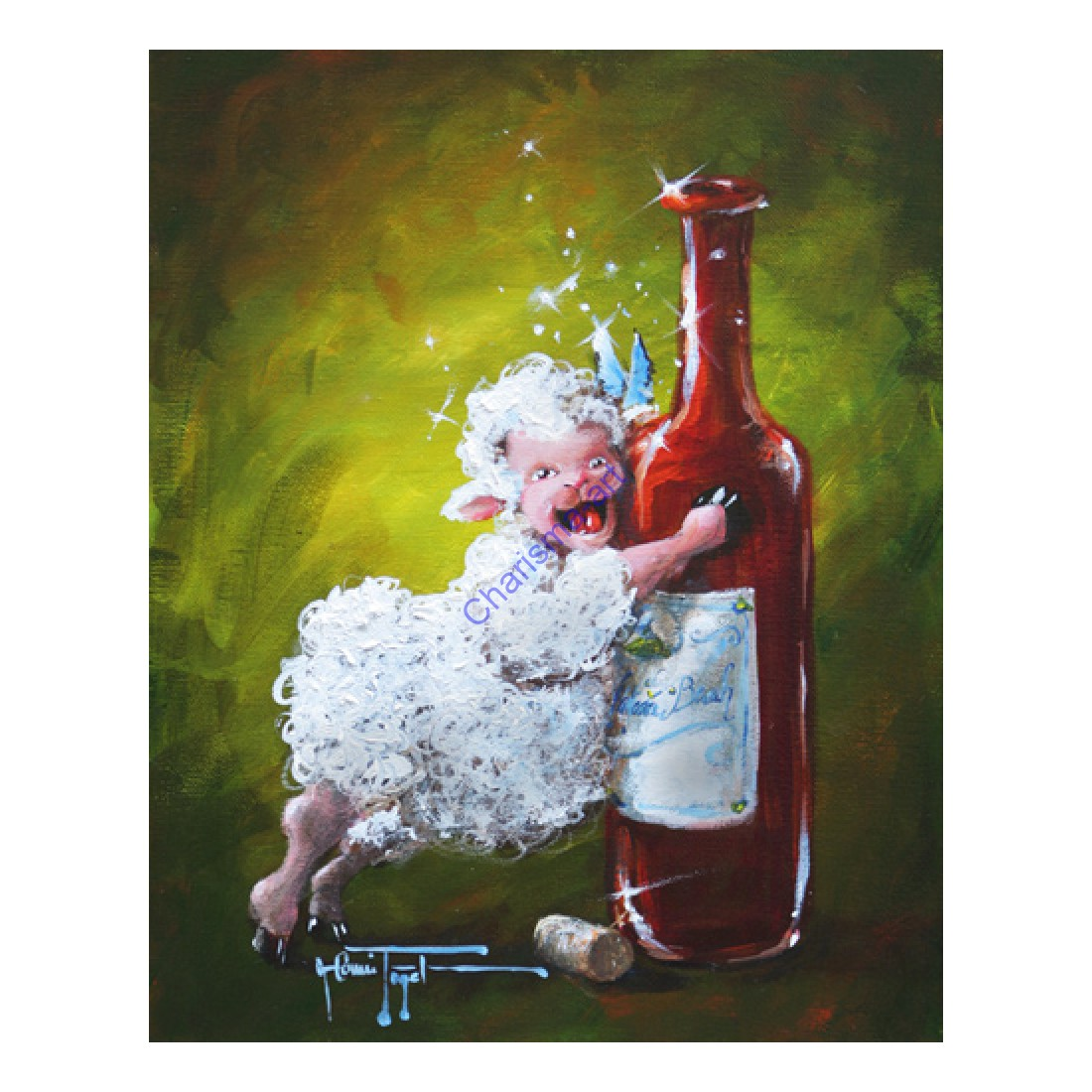 Full Bodied Red Wine Sheep Print