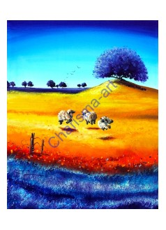 Happiness Sheep Art PRINT