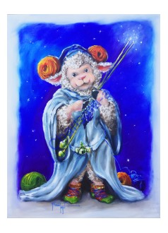 Original Oil Painting THE FLEECE BE WITH EWE Cosplay Sheep Princess Knitting