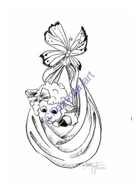 Coloring Page Little Blessing Kids Version 5x7 Digital Download
