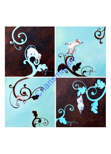 Sheep Decor  - Set of 4 Canvas Giclee