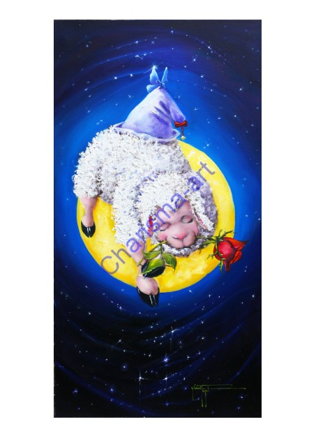 Sleeping Booty Sheep Moon Oil Painting